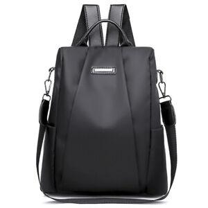 Simple-Moda-para-Mujer-Mochila-Nylon-Antirrobo-Bolso-Multifuncional-Negro-Y3I5