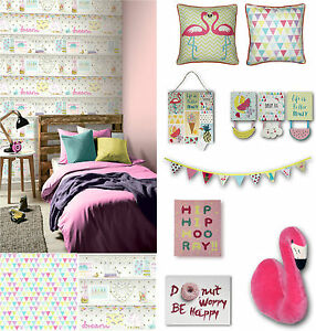 Girls Life Pretty Flamingo Bedroom Room Glitter Wallpaper & Matching ...