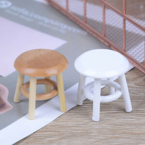 1-12-Dollhouse-miniature-furniture-wooden-stool-chair-room-gardenDLUK