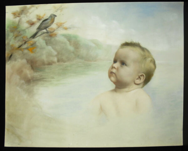 """"""" Bebé En El Mist """"dibujo Original Anonymous 50 Cm Baby And Bird Dibujar De Para Ser Altamente Elogiado Y Apreciado Por El PúBlico Consumidor"""