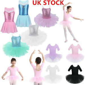 Girls-Camisole-Sequins-Ballet-Tutu-Dress-Gymnastic-Dance-Leotard-Skirt-Dancewear