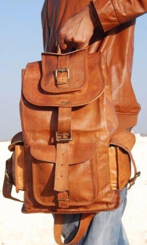 "20/"" Real genuine Leather Mens Backpack Satchel Brown Vintage Bag laptop Rucksack"