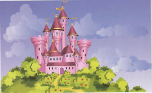 Image Is Loading PRINCESS CASTLE Photo Backdrop BIRTHDAY Party Wall Decor