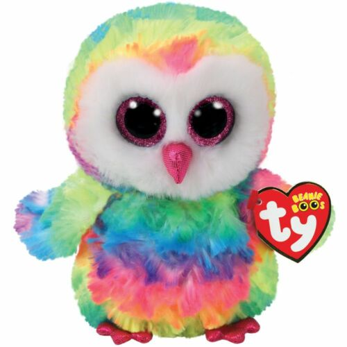 Ty Beanie Boos 6 Owen the Rainbow Owl Stuffed Animal Plush NWMT's w/ Heart Tags