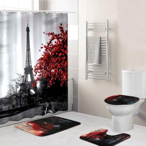 US 4Pcs Non Slip Bathroom Pedestal Rug Bath Mat Toilet Seat Cover Shower