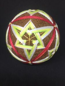New-Handmade-Multi-Color-Japanese-Temari-Tread-Ball-Made-in-Japan-Freeship