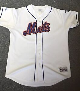 PIAZZA-Majestic-NEW-YORK-METS-NY-White-Jersey-2000-World-Series-Patch-Large