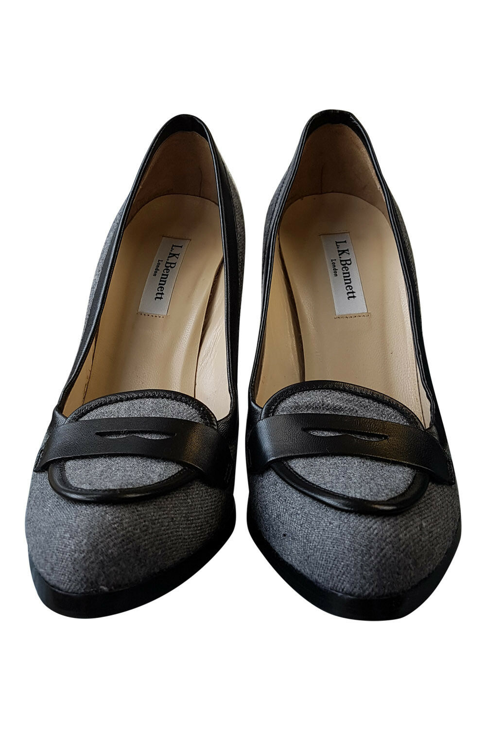 LK BENNETT GREY FABRIC (37) LOAFER STYLE STILETTO HEELS (37) FABRIC c87b53