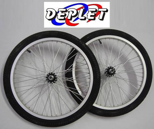 """Paire de roues renforcées BMX 20 Pouces 48 rayons Dirt Freestyle Pneu 20/"""" axe 10"""