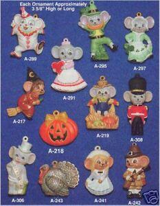 Ceramic Molds Alberta Christmas Ornaments 12 Mice Ebay