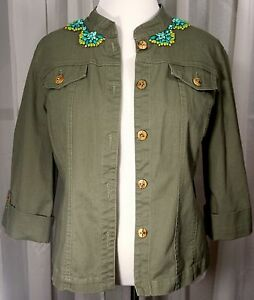 Ruby-Rd-jacket-16-olive-green-embellished-3-4-sleeves-wood-buttons-Ruby-Road