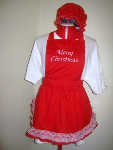 LADIES//GIRLS MERRY CHRISTMAS APRONS with OVERLACE FRILL /& MOP TOP HAT All colors
