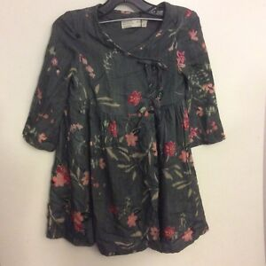 NWT-Zara-Girls-Asian-Style-Gray-Floral-Dress-Size-4
