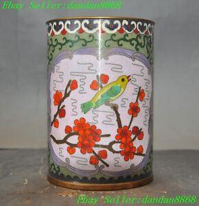 Old-Chinese-bronze-Cloisonne-Plum-flower-Magpie-bird-lucky-Brush-Pot-pencil-vase