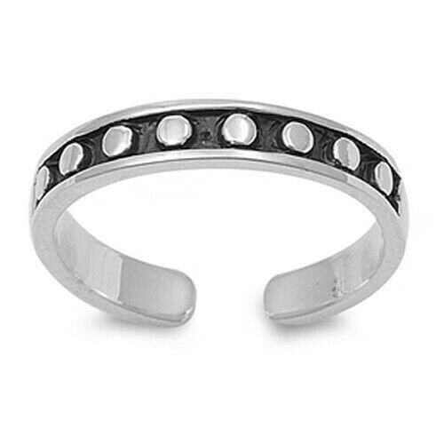 Polka Dots Toe Ring Genuine Sterling Silver 925 Adjustable Gift Face Height 3