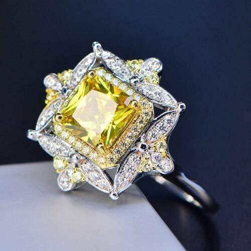 925 Argent exquis Jaune Cristal zircon Bague Femmes Mariage Bijoux Taille 6-10