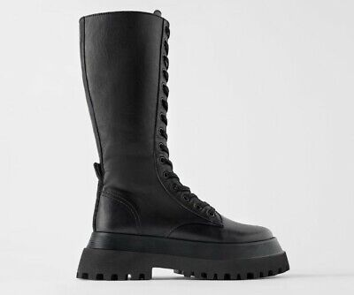 ZARA NEW FLAT LEATHER BOOTS WITH TRACK