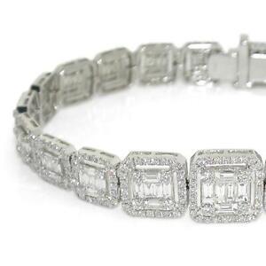 6.68 TCW Round & Baguette Cut Diamonds Link Bracelet In Solid 18k White Gold