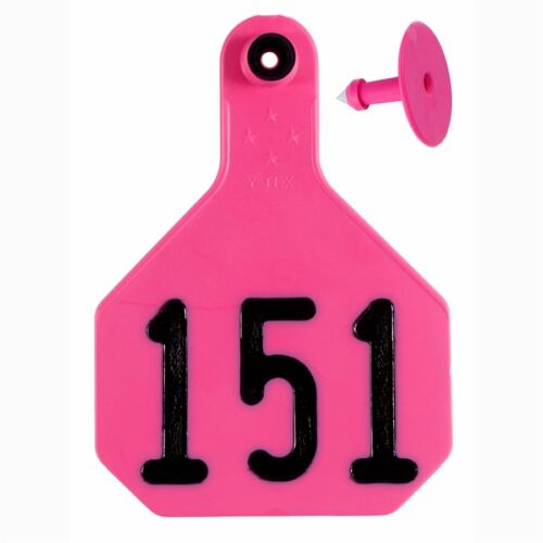 Y-TEX LARGE 4-STAR TAGS Cattle Fade Tear Resistent #151-175 Hot Pink 25ct pkg