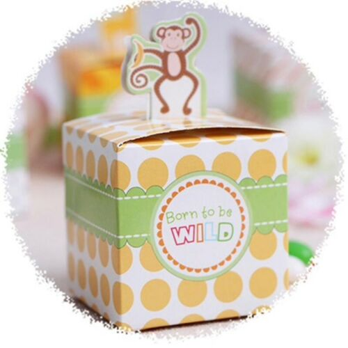 Fête D/'Anniversaire Baby Shower Safari Animal Carré Candy Box Tigre éléphant Girafe