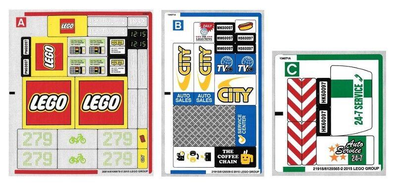 Lego 60097-Ville  VILLE  Traffic-City square (feuille de  1, 2 & 3) - Feuille Autocollant  grand choix
