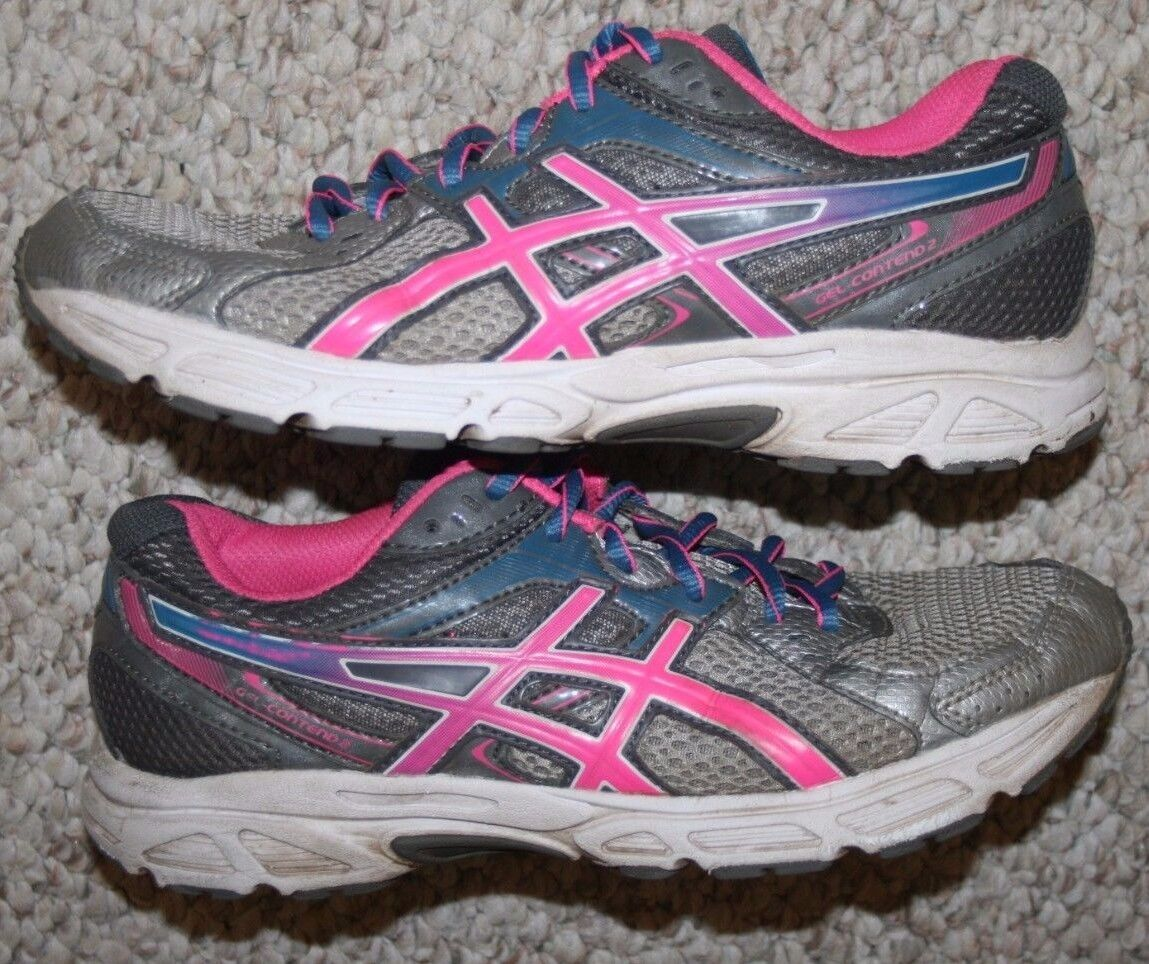 Asics Shoes Gel Contend 2 Running Shoes Asics 7.5 Seven 1/2 Womens Gray Pink Blue & White 97a004