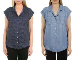 Jachs Girlfriend Womens Button Down Shirt Tencel Quinn Cap Sleeve Top NWT
