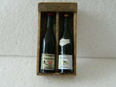 (f28) Dolls House Handmade Wooden Wine Box With 2 X Bottles (empty)