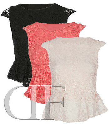 NEW LADIES WOMENS LACE PEPLUM DRESS TOP BLACK CORAL NUDE 6-14