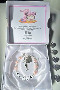 Image Is Loading Baby 1st First Birthday Bracelet Daughter Niece Granddaughter