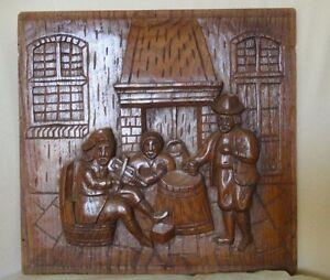 Vintage Oak Carved Panel