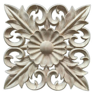 Details About 1X Rubber Wood Carved Floral Decal Craft Onlay Applique  Furniture DIY Decor H1G1