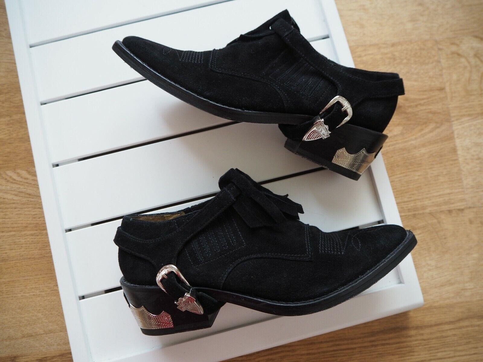 Reino Unido 2 UE UE UE 35 toga pulla Negro botas al Tobillo Zapatos De Gamuza Western Puntiagudo Dedos de los pies 70s  los nuevos estilos calientes