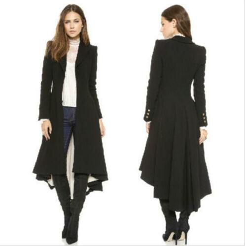 Womens Cotton Blend Slim Fit Long Dovetail Coat Jacket Lapel Long sleeve Trench