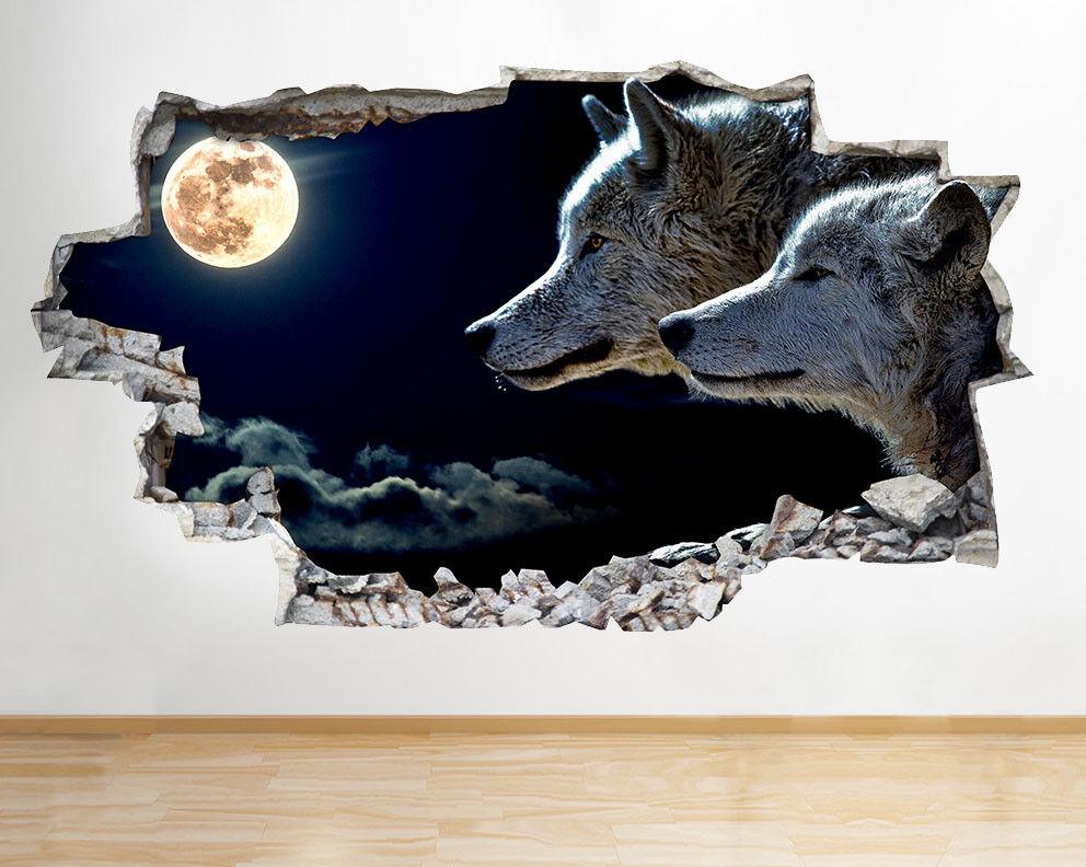 D096 Loups animaux Lune Nuit Cool Wall Art Autocollant Chambre 3D Vinyle enfants