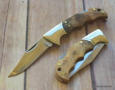 ROUGH RIDER WOOD HANDLE LOCKBACK FOLDING KNIFE RAZOR SHARP BLADE