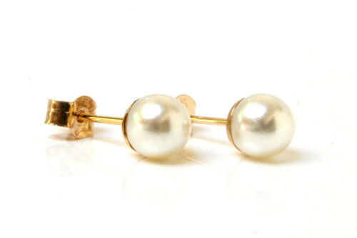 9ct Gold 5mm Pearl Stud earrings Gift Boxed Made in UK Wedding Gift