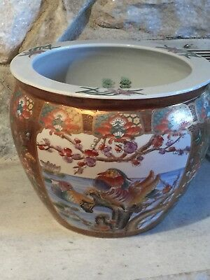 Large Hand Painted Ceramic Oriental Koi Fish Bowl Planter Ebay