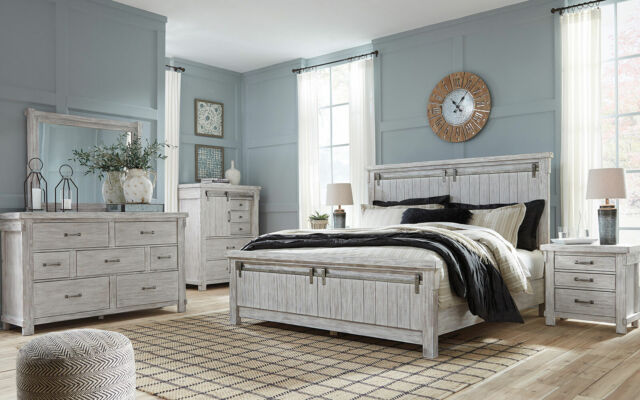 NEW Traditional Cottage White Bedroom Furniture - 5pcs Set w/ King Size Bed  IA1A