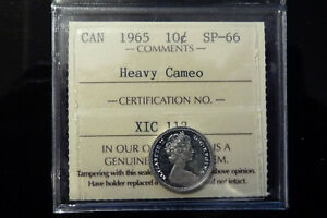1965-Canada-silver-specimen-ten-10-cents-ICCS-SP-66-Heavy-Cameo