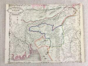 1848-Antik-Map-Of-Assam-Indien-Burma-19th-Jahrhundert-Hand-Farbig-Gravur