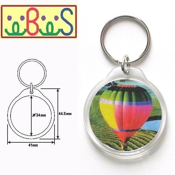 8x Blank Round Clear Acrylic Keyrings 34mm Photo Size (key ring plastic) 09010