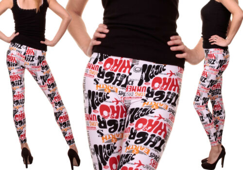 Damen Leggings Graffiti Cartoon Wordmark Text Muster Fitness Hose Leggins LM90
