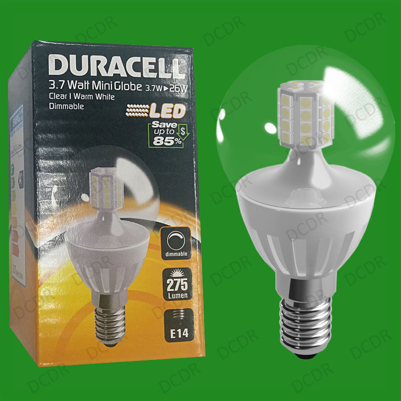 10x 3.7W Dimmable Duracell LED Clear Mini Globe Instant On Light Bulb SES E14