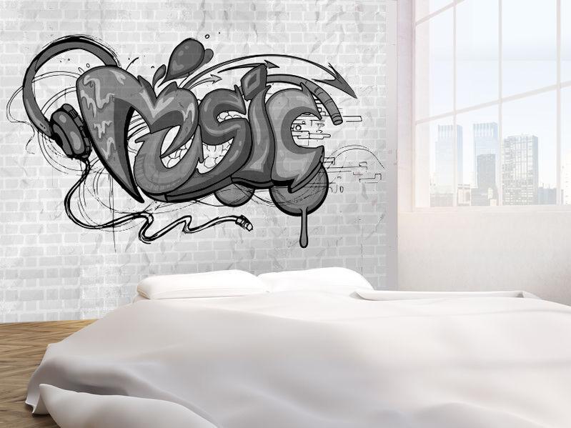 Musik Hintergrund Graffiti Schwarz und Weiß Foto Wandtapete Wandgemälde