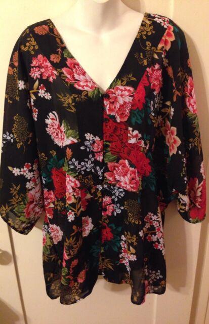New Retro Boho JL Studio Black Asian Floral Kimono Sleeve Style Blouse Size 22W