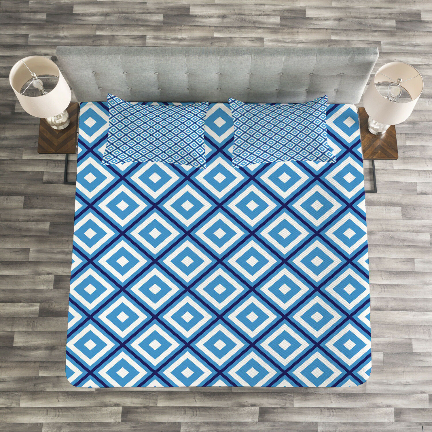 Abstract Quilted Bedspread & Pillow Shams Set, Geometric Diamond Form Print