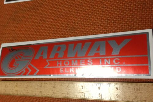 "Garway Homes Decal Vintage Travel Trailer Red On Chrome 10 1/2"" Set 2"