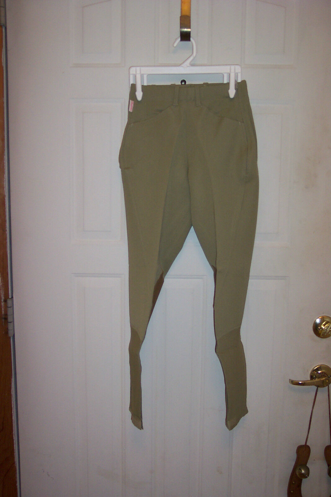TAILORED SPORTSMAN LADIES BREECHES L  KNEE PATCH BEIGE GREEN   first-class quality