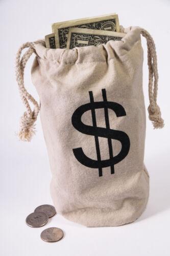 Wild West Money Bag Canvas Bag Bank Robbery Burglar Heist Costume Prop